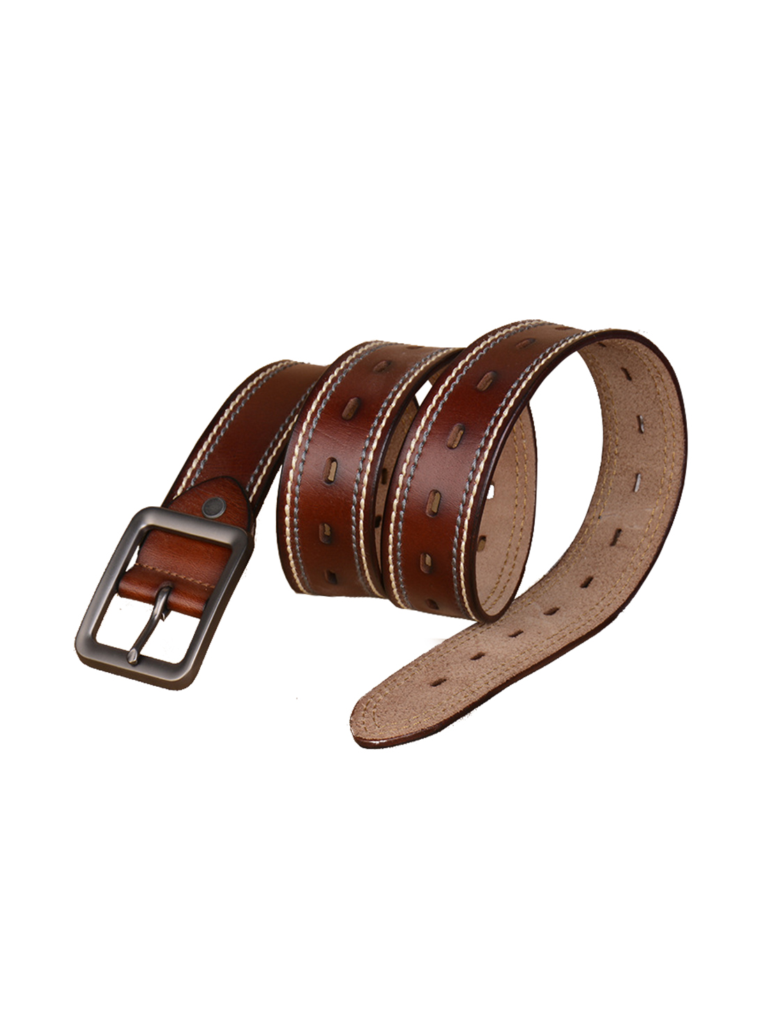 Men Modern Stitching Single Pin Buckle Leather Belt 39mm Width 1 1/2 Brown 120cm