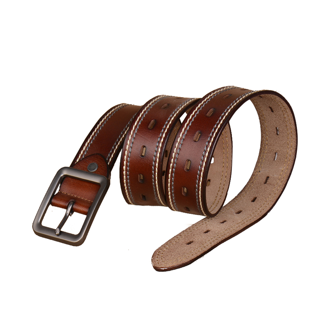 Men Fancy Stitching Single Pin Buckle Leather Belt 39mm Width 1 1/2 Brown 125cm
