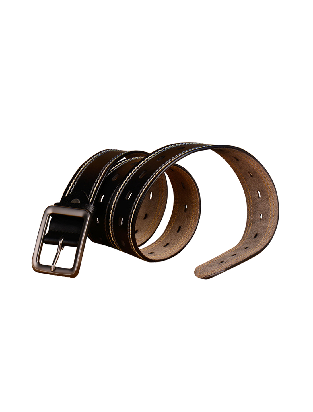 Mens Casual Stitching Single Pin Buckle Leather Belt 39mm Width 1 1/2 Black 110cm
