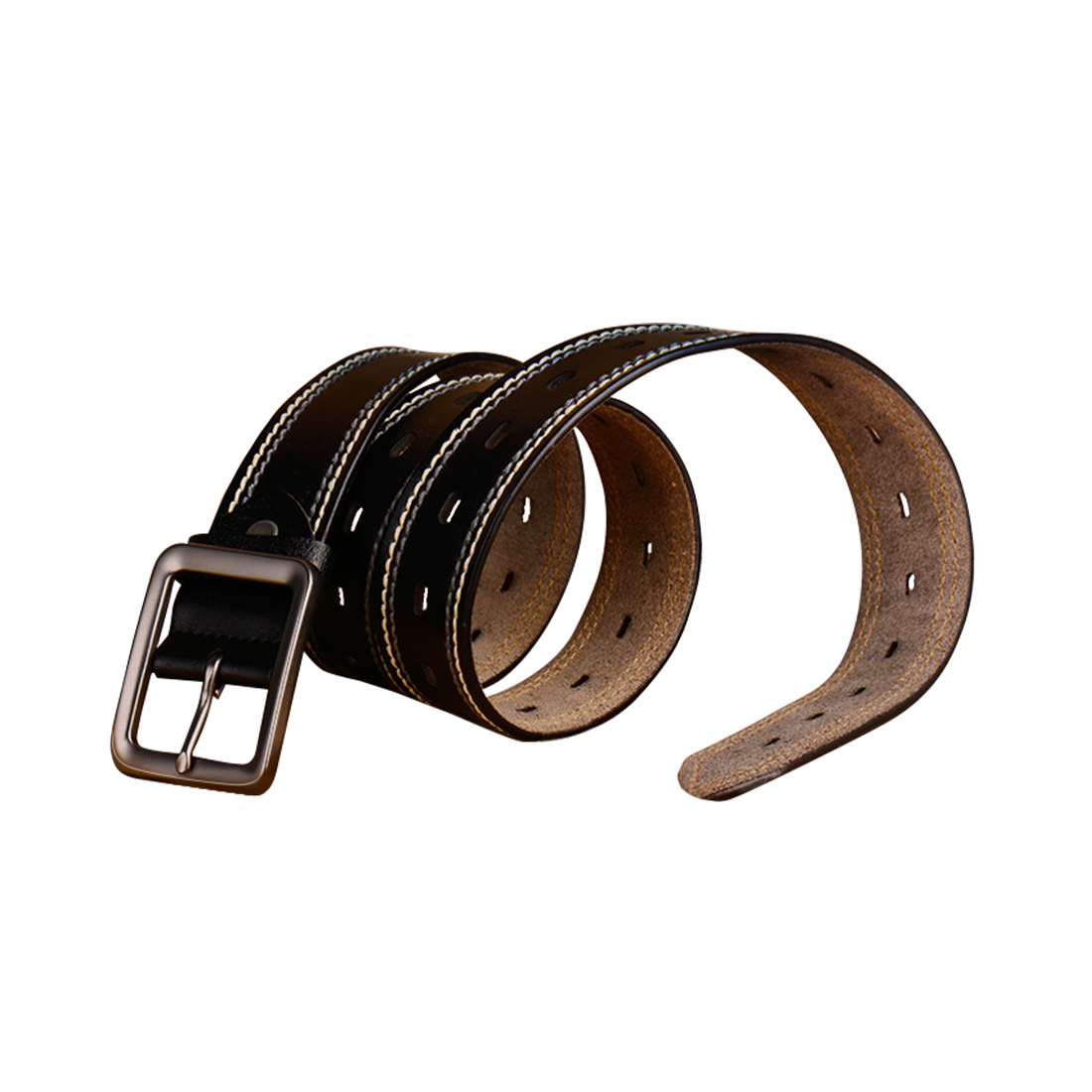 Mens Fancy Stitching Single Pin Buckle Leather Belt 39mm Width 1 1/2 Black 125cm