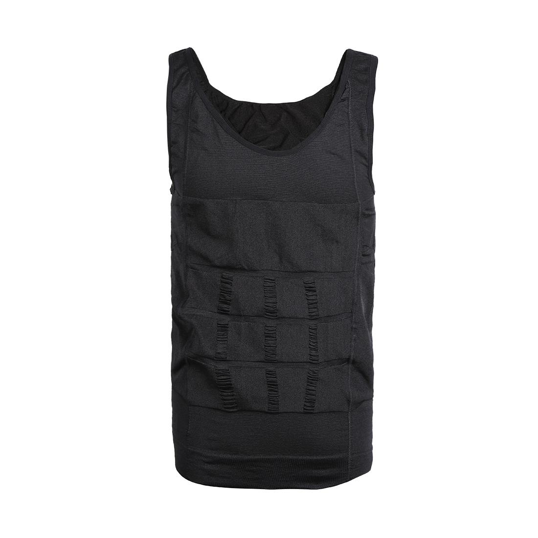 Men Compression Slimming Body Tummy Waist Shapewear Tank Top Black Large