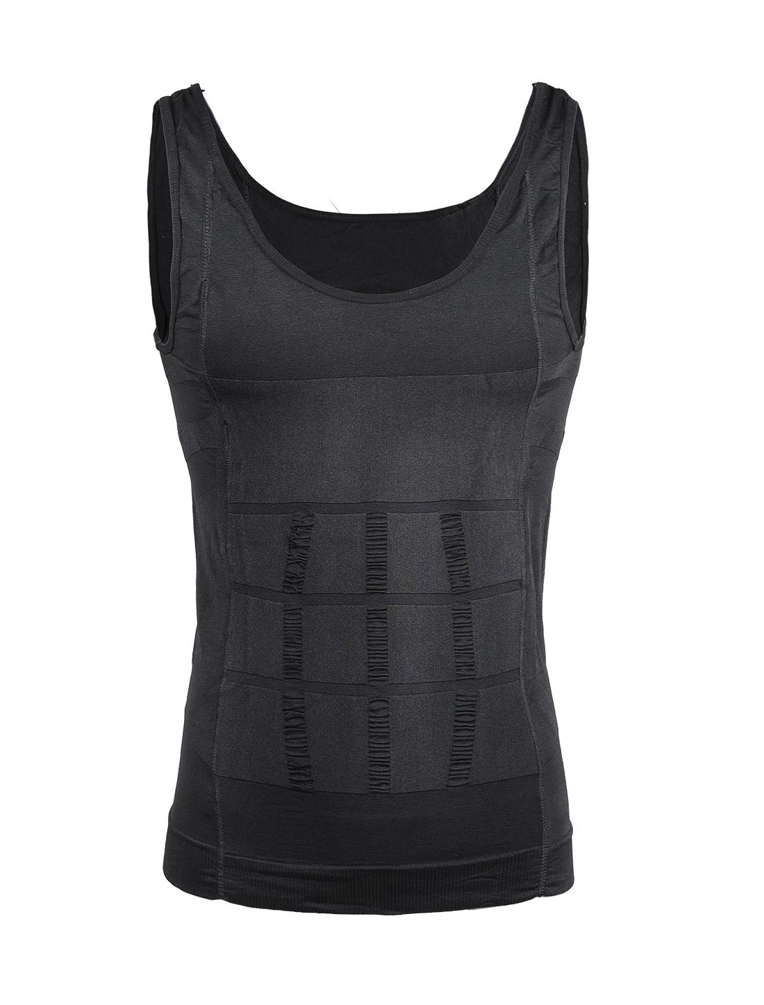 Men Compression Slimming Body Tummy Waist Shapewear Tank Top Gray Large