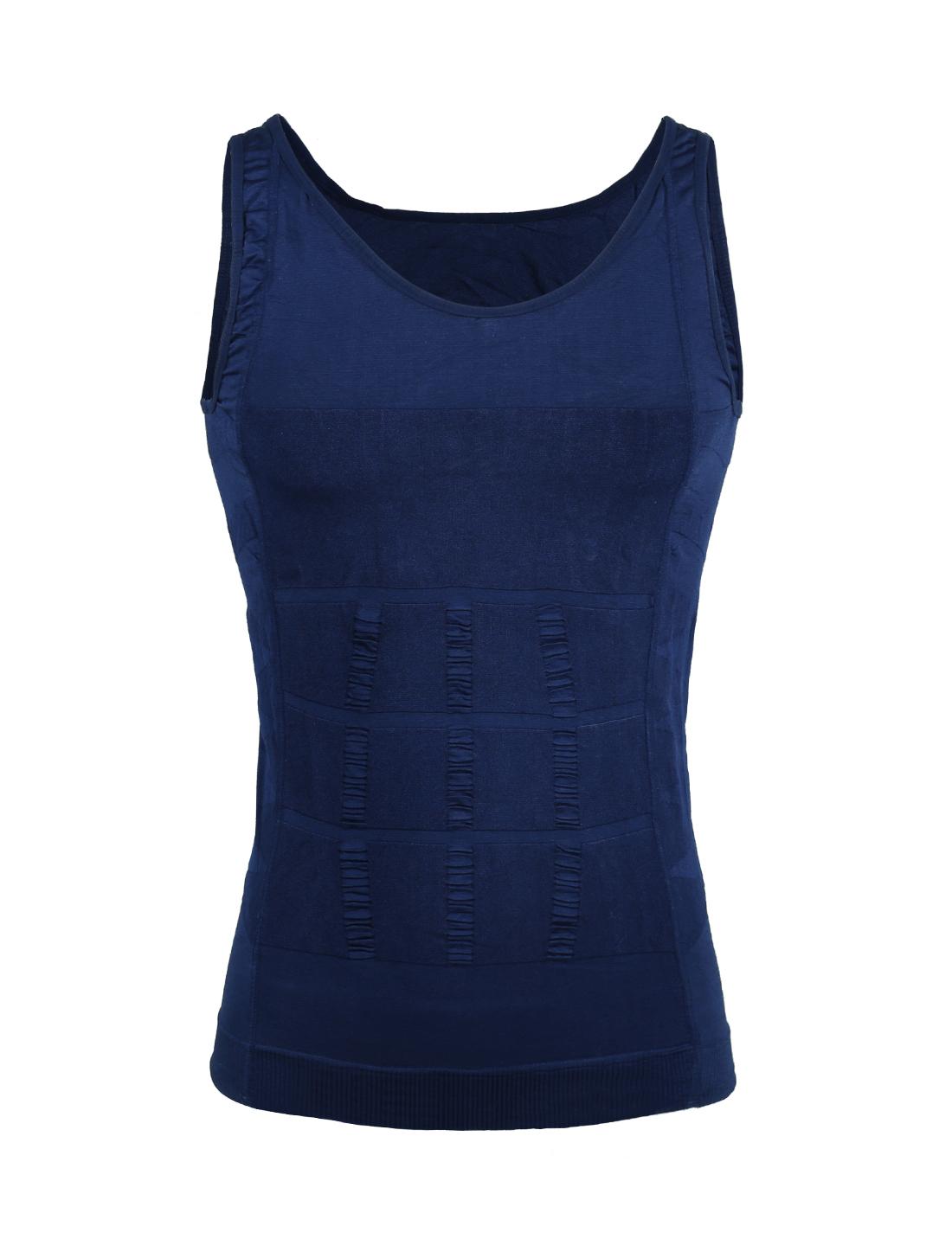 Men Compression Slimming Body Tummy Waist Shapewear Tank Top Blue Medium