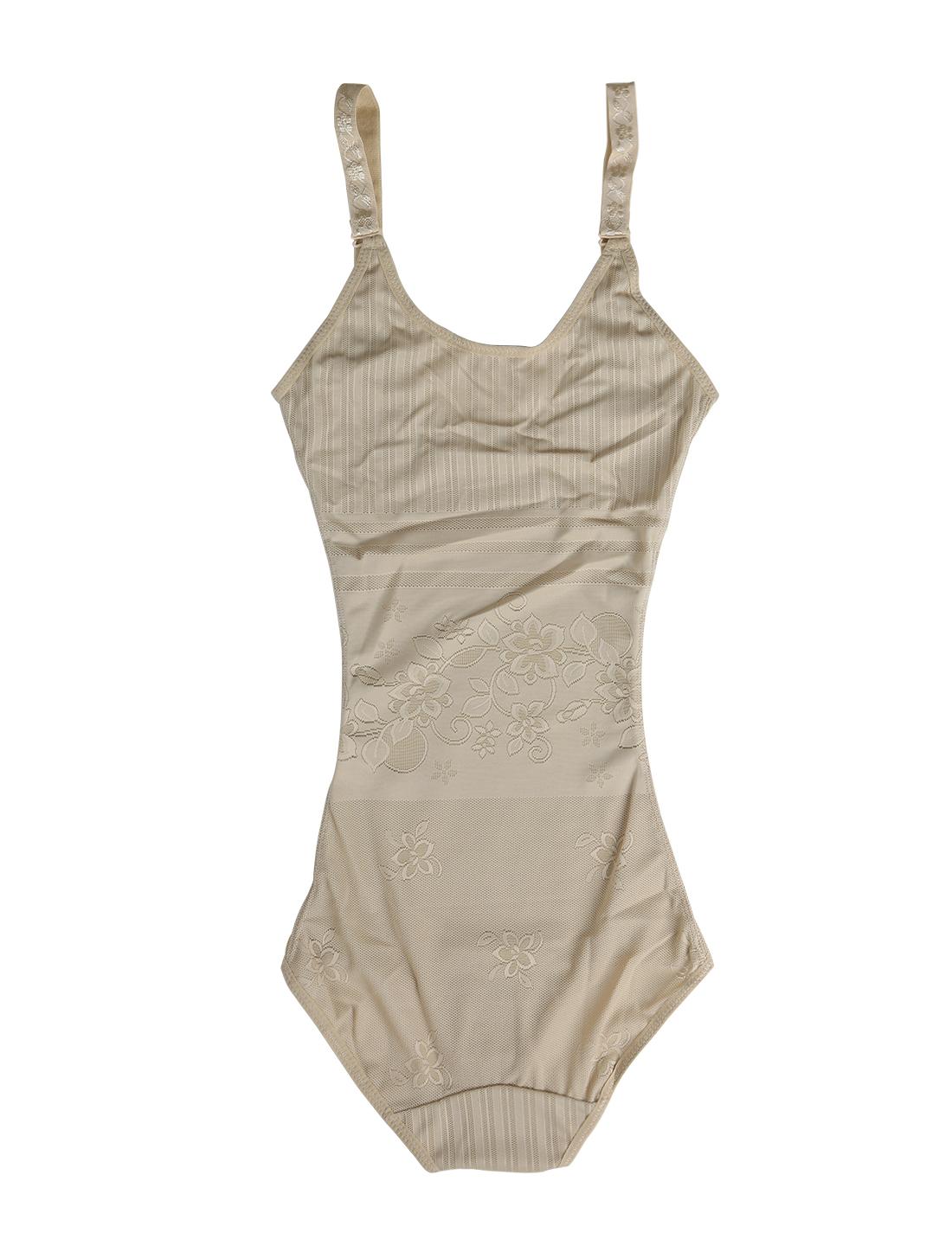 Women Floral Seamless Lightweight Open Bust Slimming Bodysuit Beige X-Large