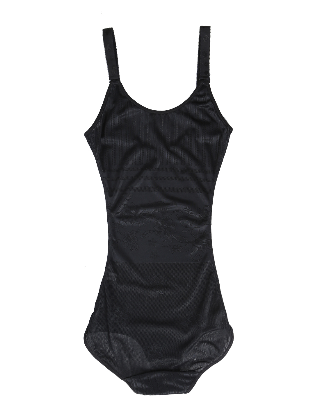 Women Floral Seamless Lightweight Open Bust Slimming Bodysuit Black XX-Large