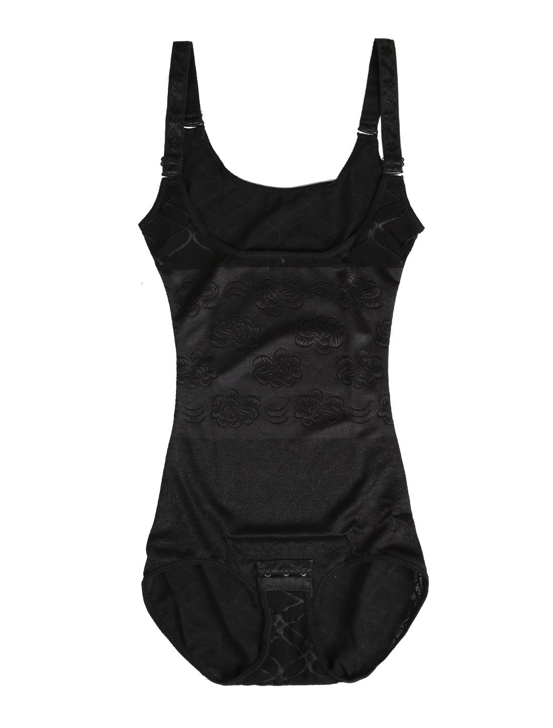 Women Seamless Front U-Style Open Bust Firm Control Shapewear Black Large