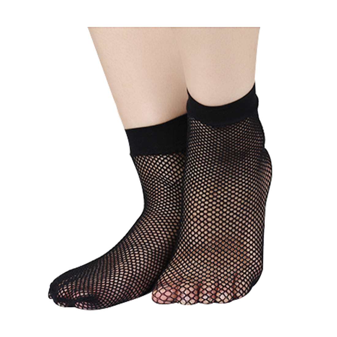 Women 10 Pairs Trendy Fishnet Ankle High Small Net Short Socks Black