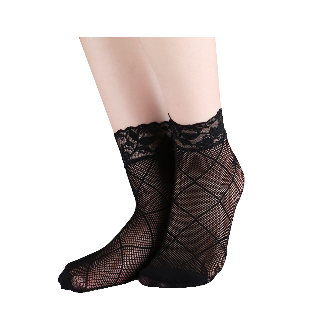 Women 10 Pairs Trendy Fishnet Ankle High Lace Plaids Net Short Socks Black