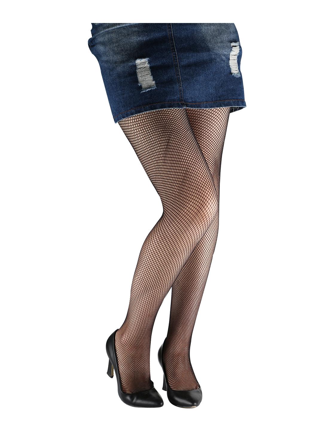 Women 2 Pack Trendy Strechy Fishnet Stockings Pantyhose Small Net Black