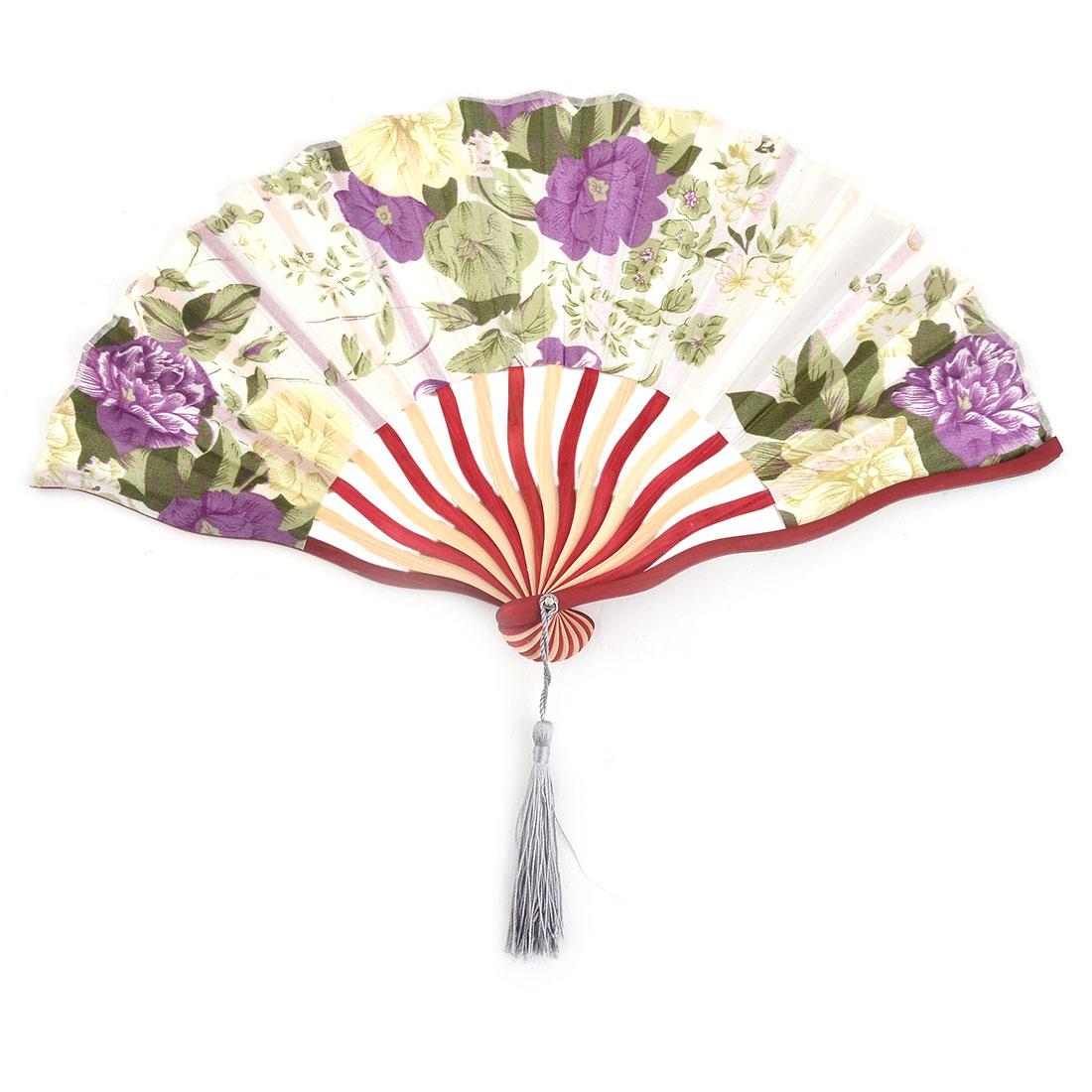 Polyester Flower Printed Tassel Handmade Summer Folding Hand Fan 8.3 Inches Length