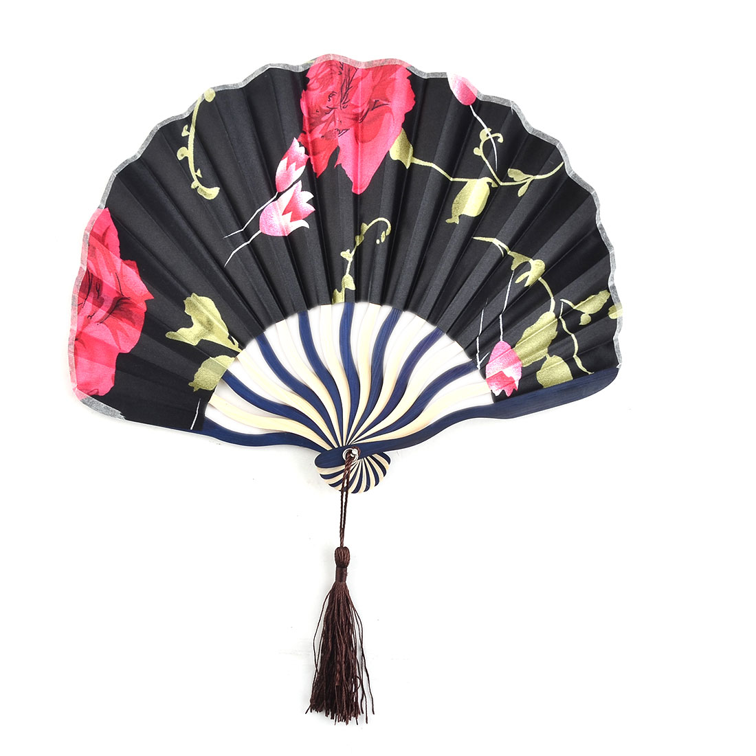 Dorm Wall Decor Polyester Floral Print Tassel Handmade Handheld Cooling Hand Fan Black