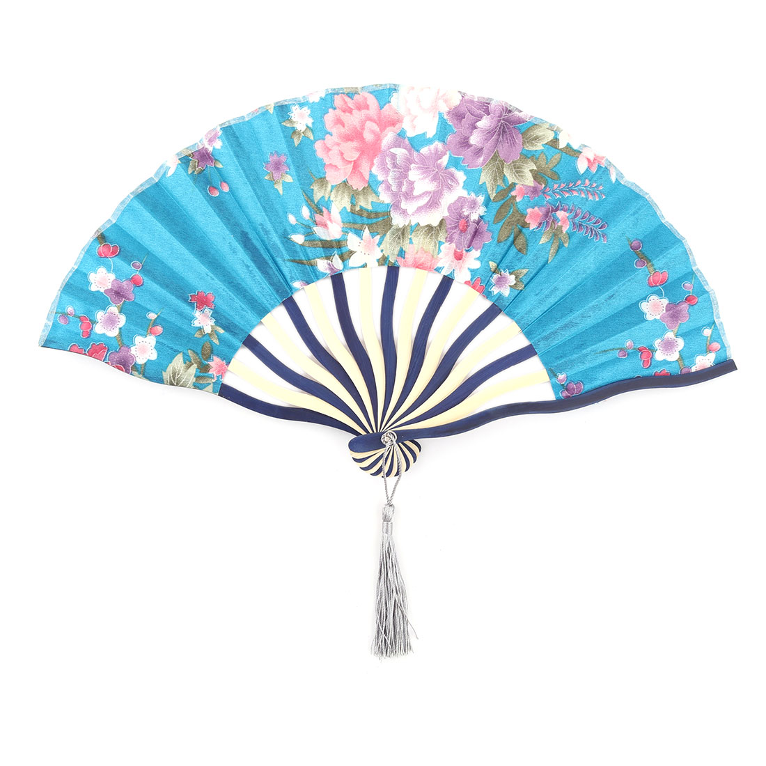 Dancing Bamboo Frame Flower Print Chinese Craft Cool Foldable Hand Fan Teal Blue