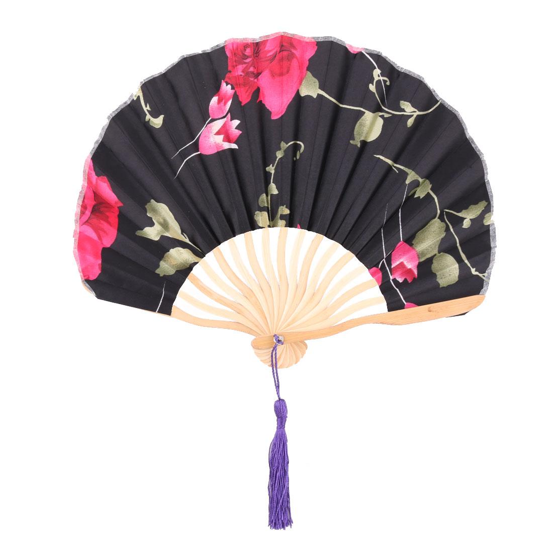 Women Dancing Bamboo Frame Flower Pattern Handmade Folding Fan Black 34cm Length