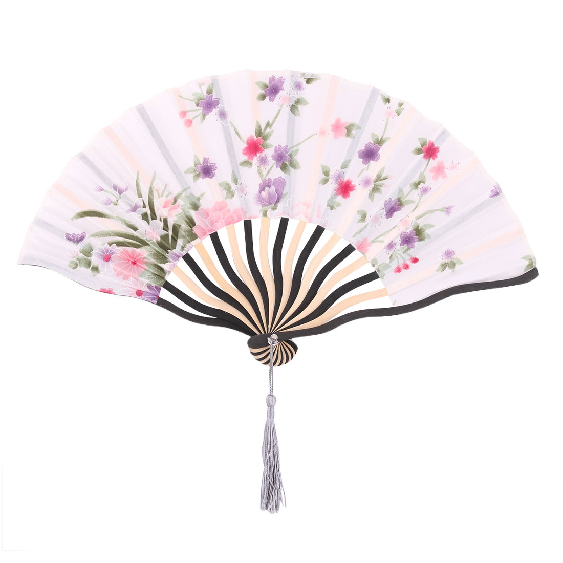 Dancing Bamboo Frame Flower Print Chinese Craft Cooling Foldable Hand Fan White