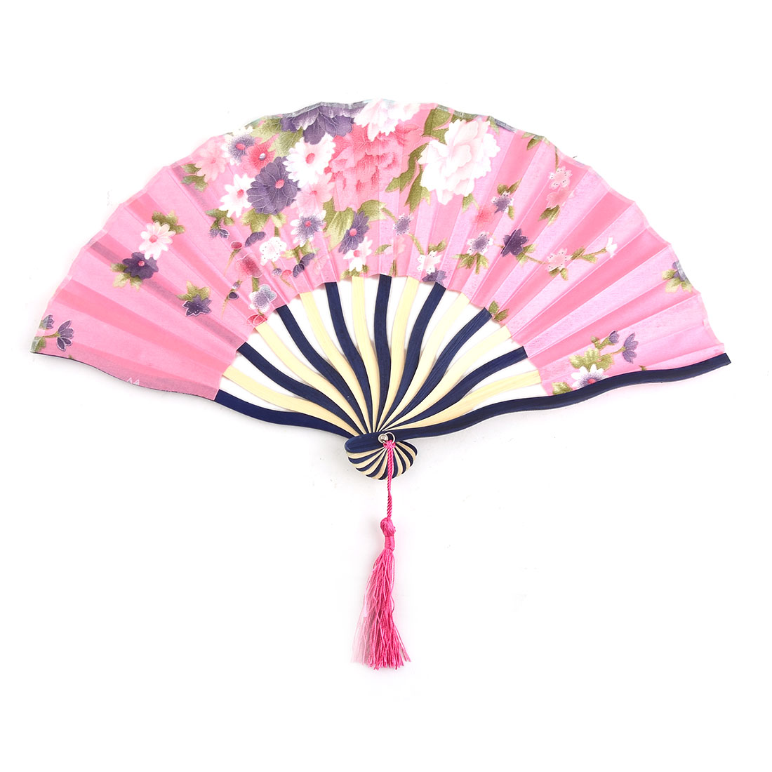 Climbing Polyester Flower Pattern Tassel Ornament Folding Hand Fan 8.3 Inches Length