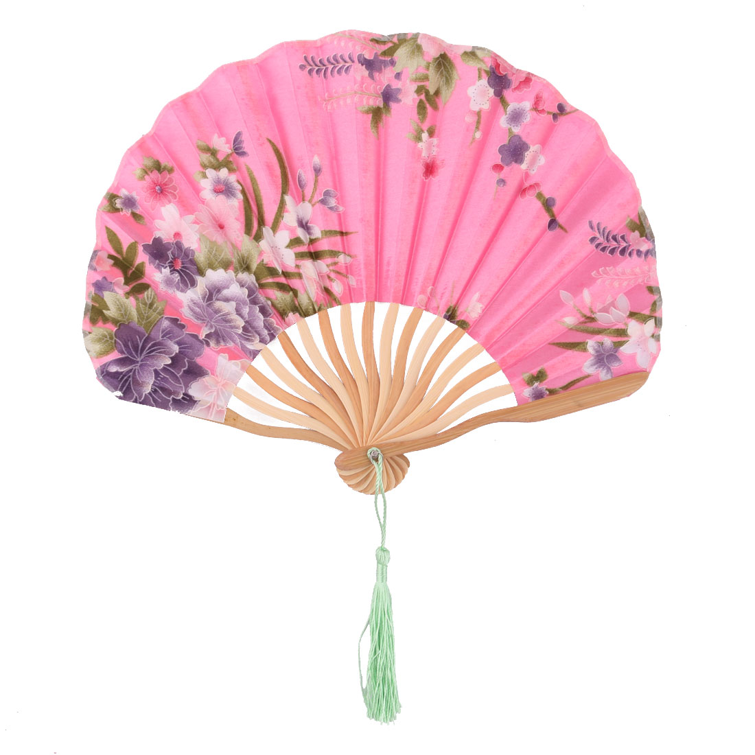 Women Dancing Bamboo Frame Flower Pattern Handmade Folding Fan Pink 34cm Length