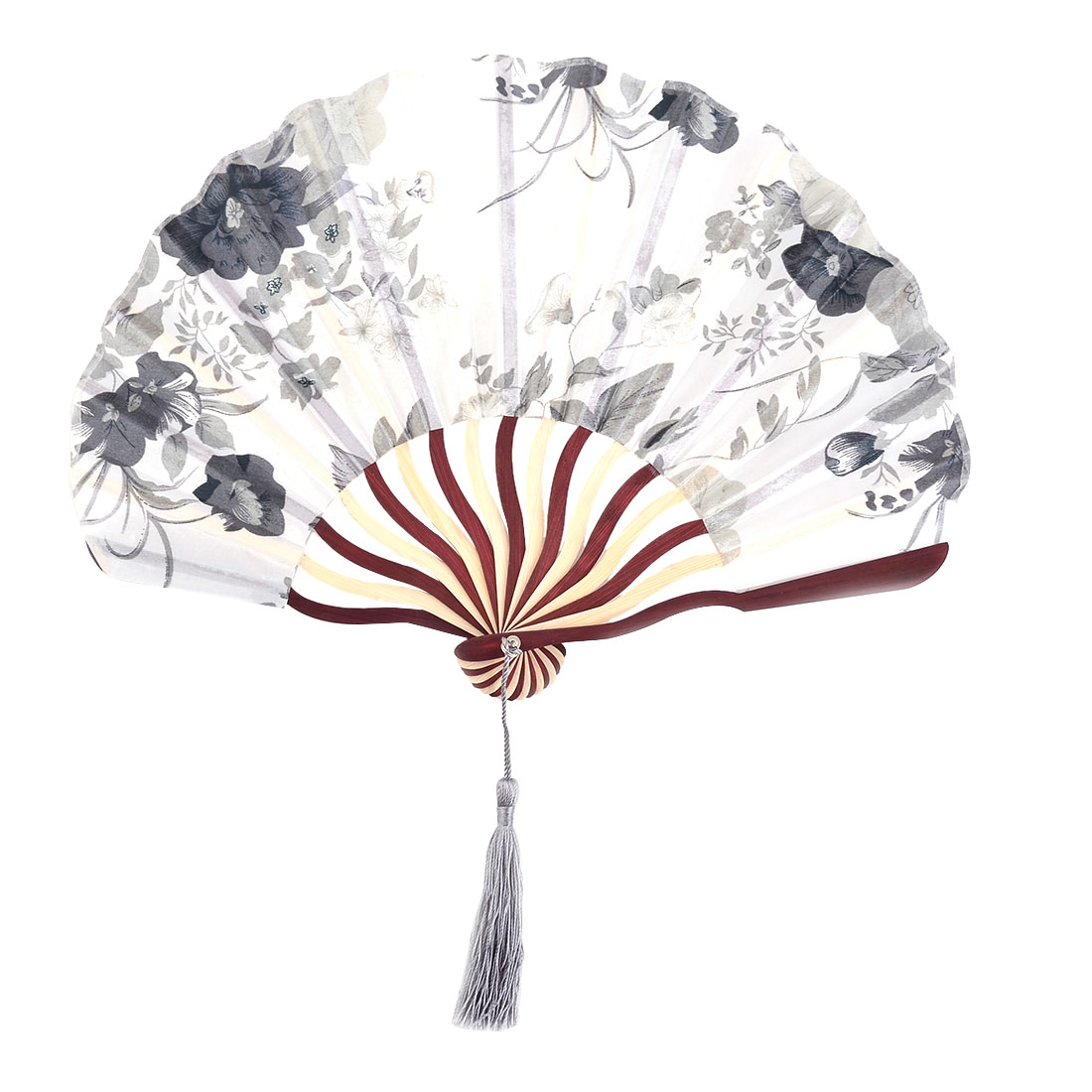 Dance Polyester Flower Print Tassel Decor Handicraft Summer Handheld Hand Fan 8.9 Inches Length