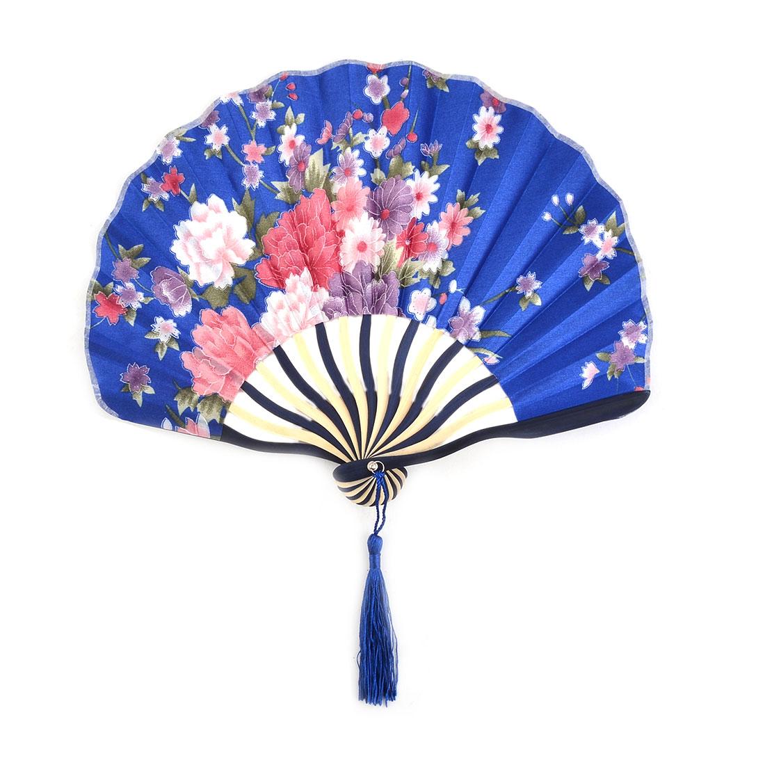 Dorm Wall Decor Polyester Floral Print Tassel Handmade Handheld Hand Fan Royal Blue