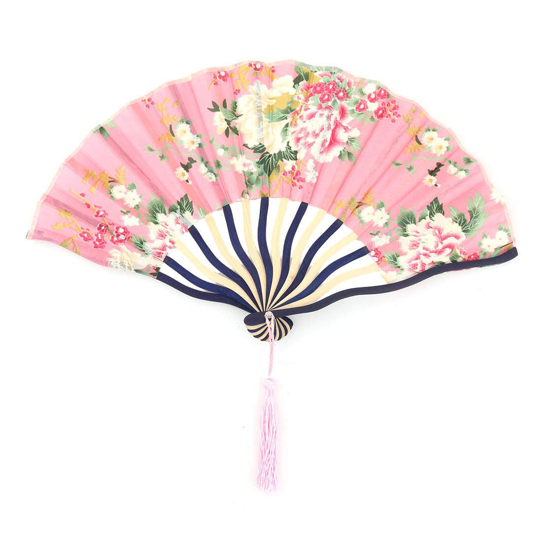 Dancing Bamboo Frame Flower Print Chinese Craft Cooling Foldable Hand Fan Pink