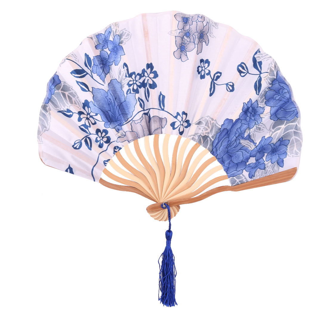 Lady Outdoor Polyester Classical Style Folding Summer Cooling Hand Fan 23cm Length