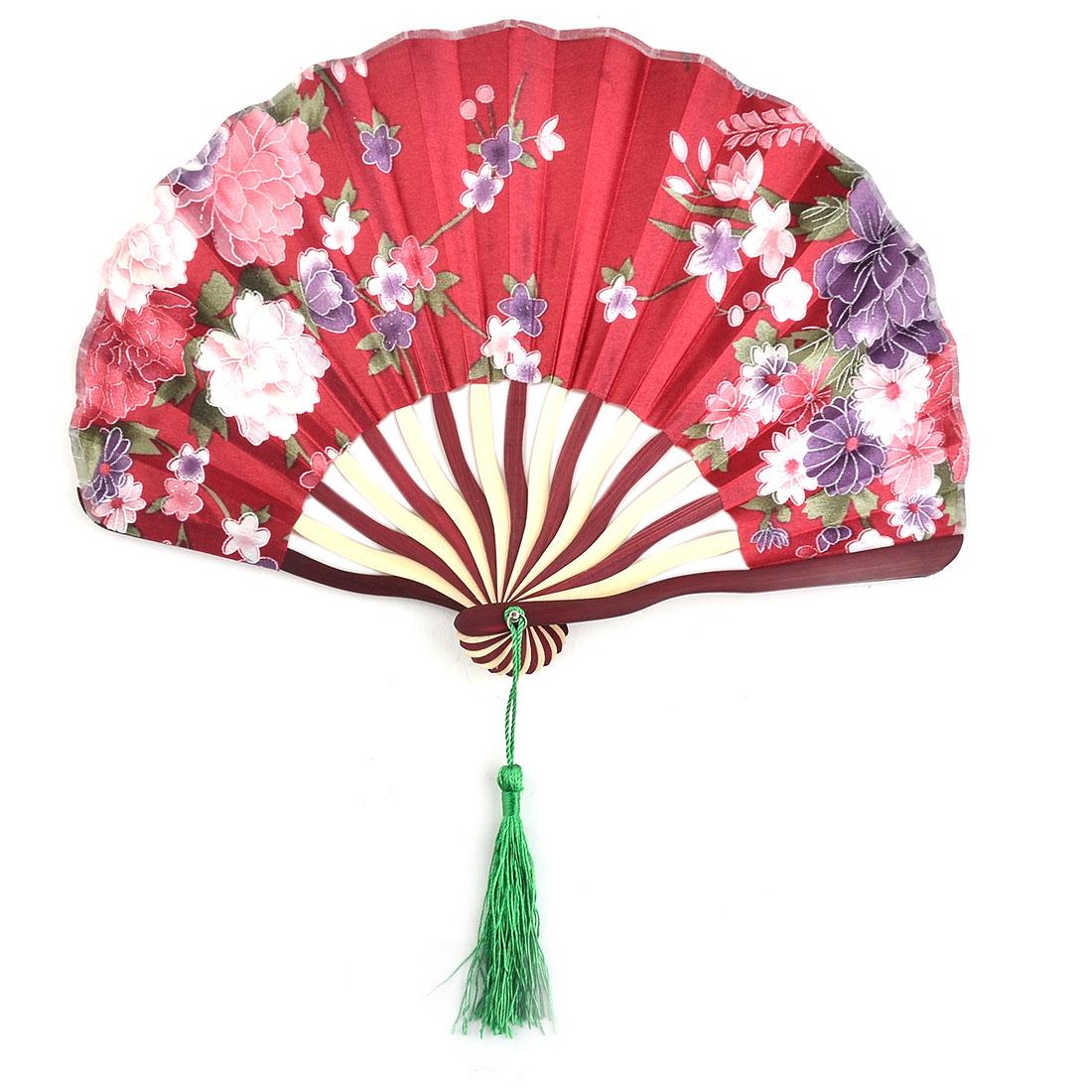 Home Polyester Flower Print Tassel Decor Handicraft Handheld Hand Fan Burgundy
