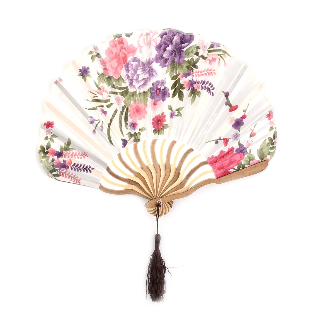 Lady Polyester Flower Printed Tassel Decor Folding Hand Fan 9.6 Inches Length
