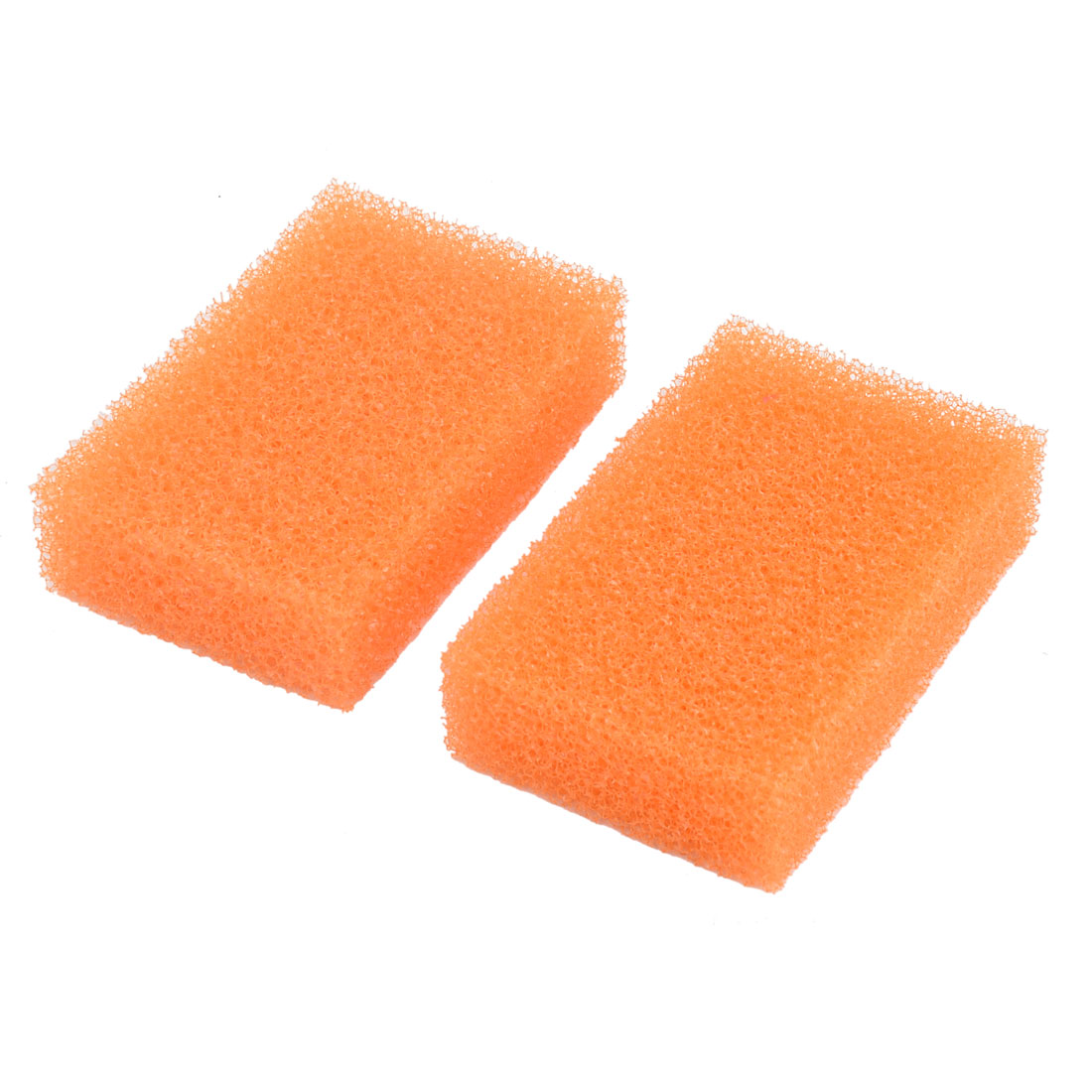 Kitchen Sponge Rectangle Bowl Plate Dishes Cleaning Scrubbing Pad Orange 2pcs