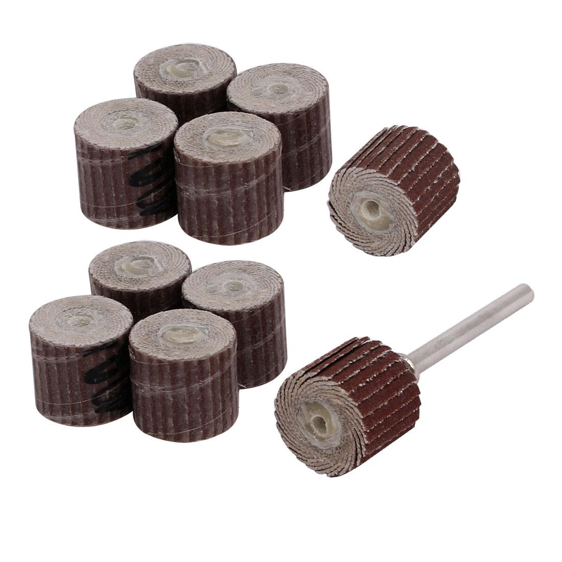 10pcs 13mm Dia 400 Grit Sandpaper Flap Sanding Wheel Grinding Head w Mandrel