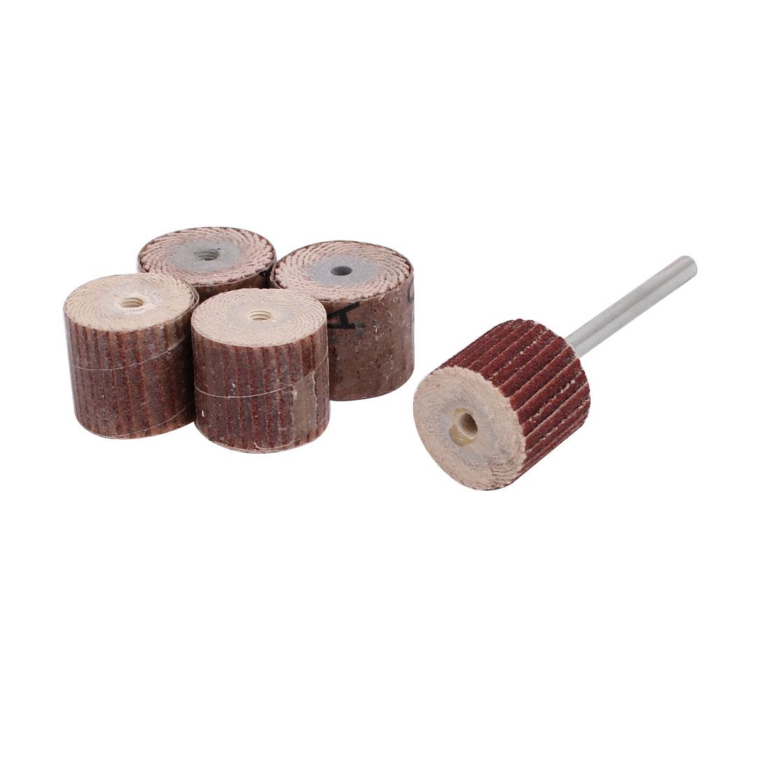 5pcs 15mm Dia 120 Grit Sandpaper Flap Sanding Wheel Grinding Head w Mandrel