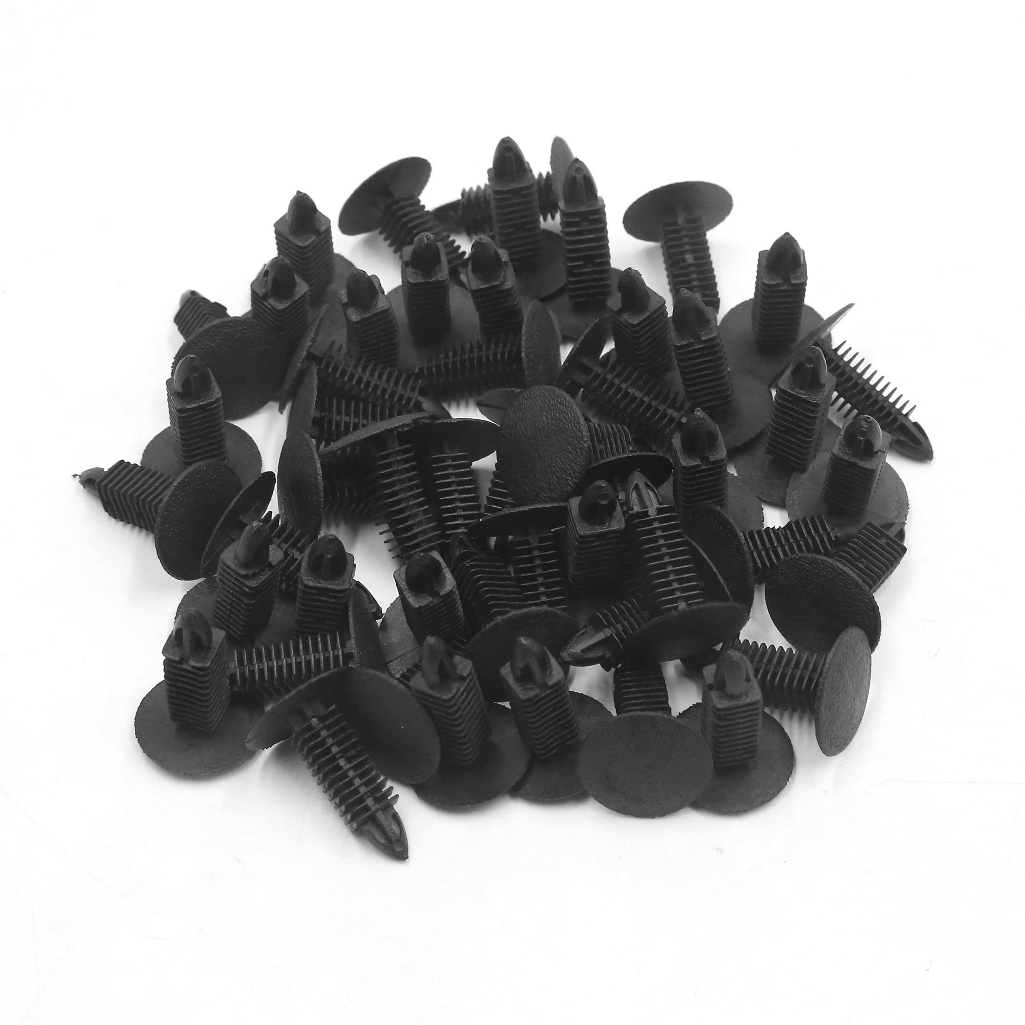 50 Pcs 7mm Hole Black Plastic Car Door Panel Retainer Clips Rivet Fastener