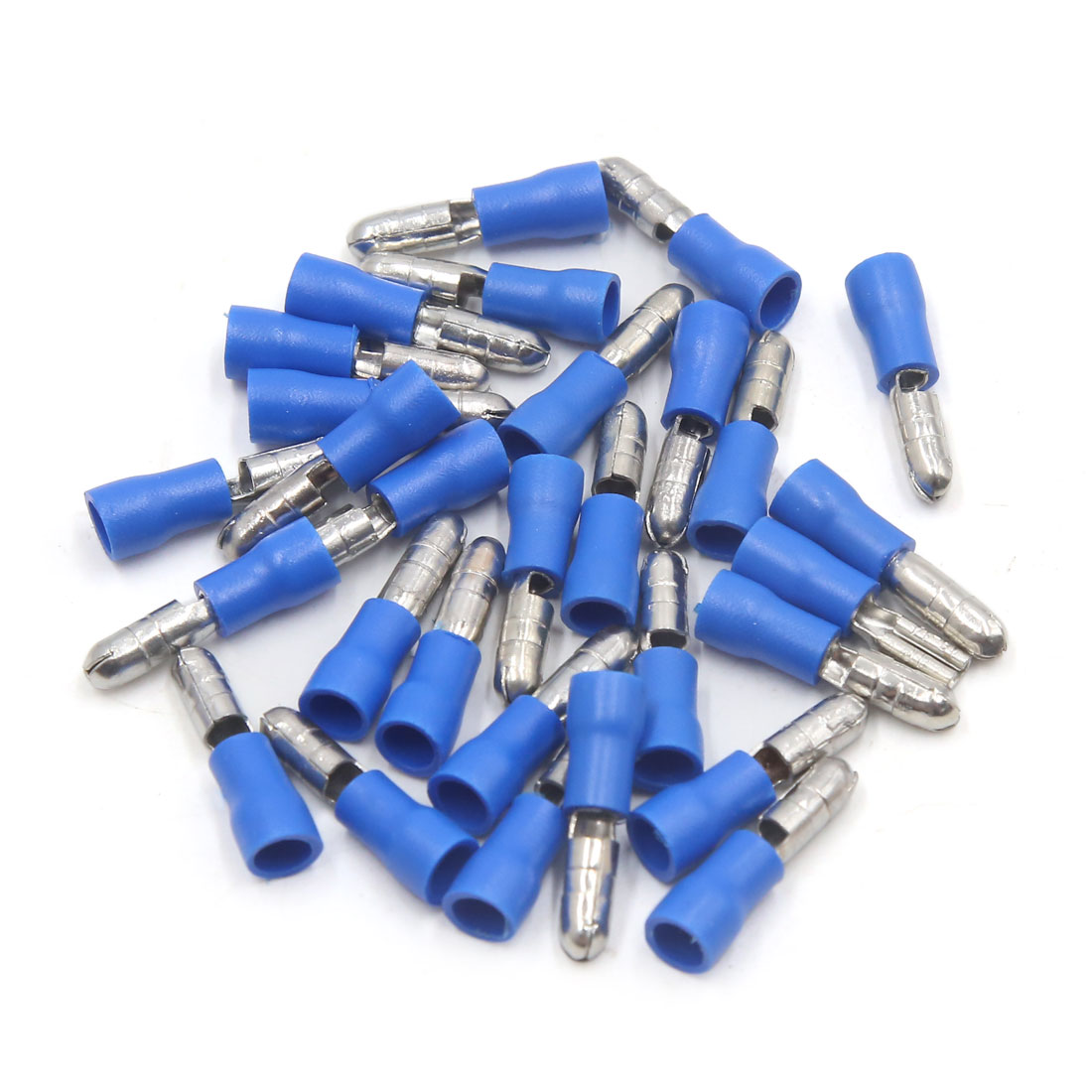 29pcs Car Auto Electric Cable Wire Insulated Crimp Terminals Blue Silver Tone