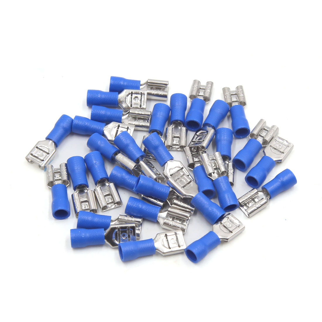 30Pcs Blue Female Insulated Spade Wire Crimp Terminal Connector for Auto Vehicle