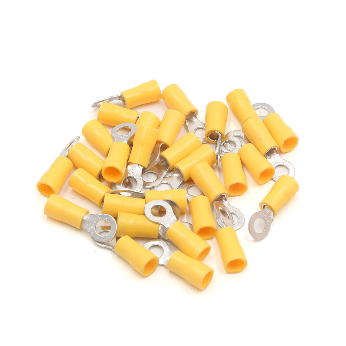 30Pcs 5mm Ring Hole Insulated Spade Wire Crimp Terminal Connector for Car Yellow