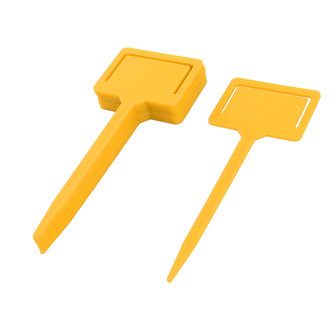 Garden Plastic Rectangle Head Plant Flower Name Marking Tag Label Yellow 10pcs