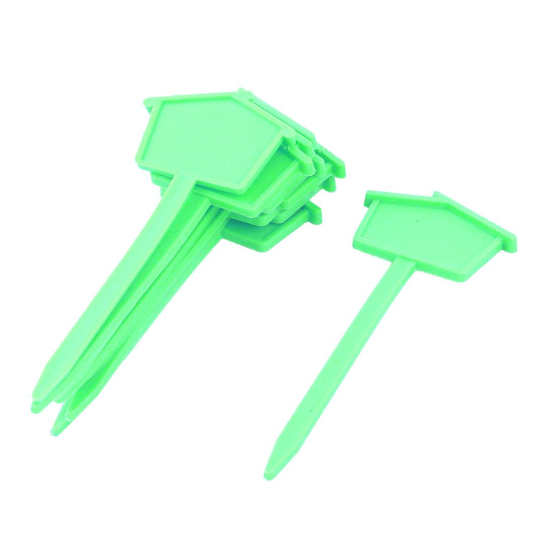 Family Yard Plastic House Design Name Marking Tag Label Green 10pcs