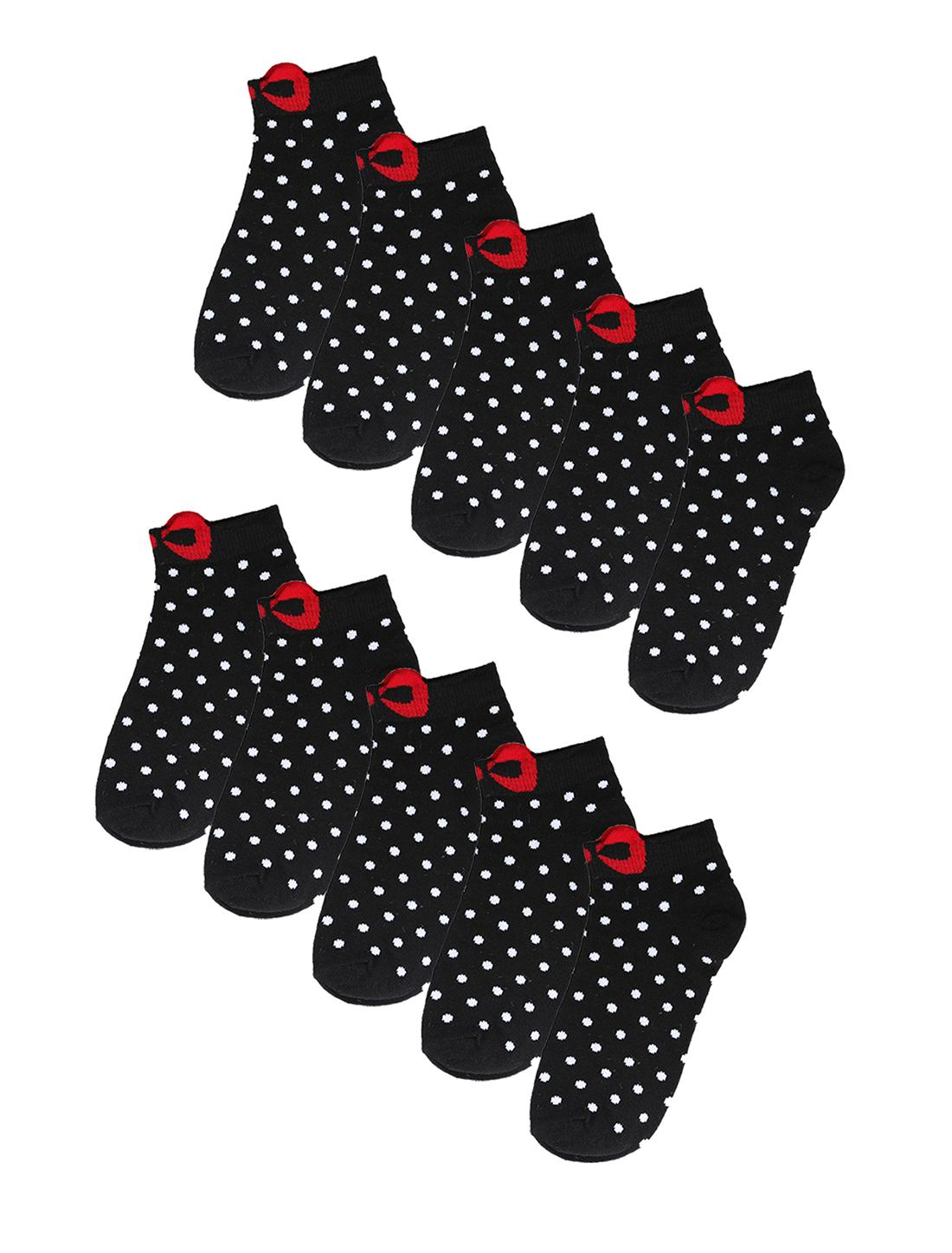 Women Cotton Dots Bowknot No Show Boat Socks 10 Pack 7-9 Black