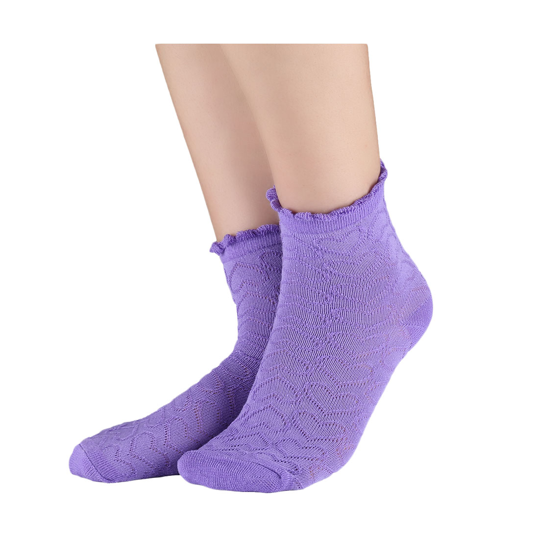 Kids Boys Girls Hearts Embroidery Cotton No Show Socks 10 Pack 5-10T Purple