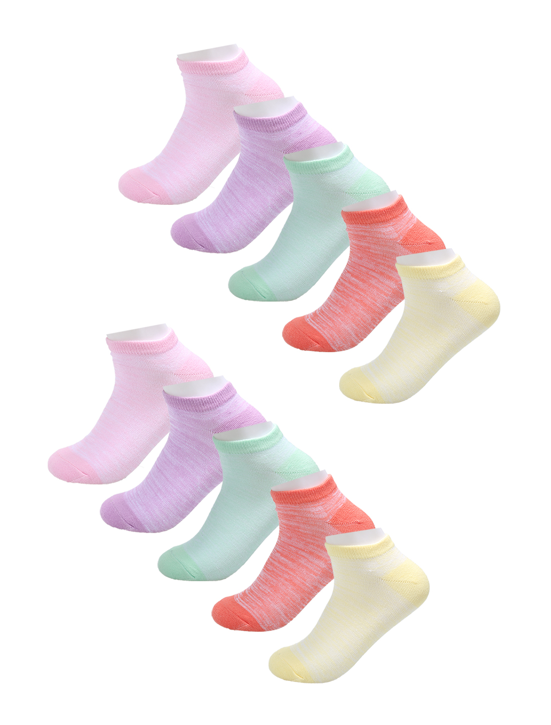 Women Contrast Color Cotton Breathable Boat Socks 10 Pack 7-9 Assorted
