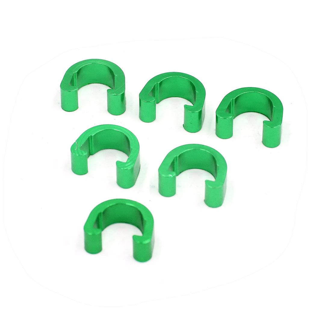 6pcs Green Aluminium Alloy MTB Bike C-Clip Brake Cable Housing Hose Guide Clamp