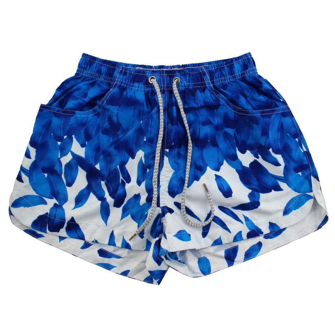 Women Lady Polyester Sea Beach Shorts Breathable Half Pants Adjustable Swim Trunks W25
