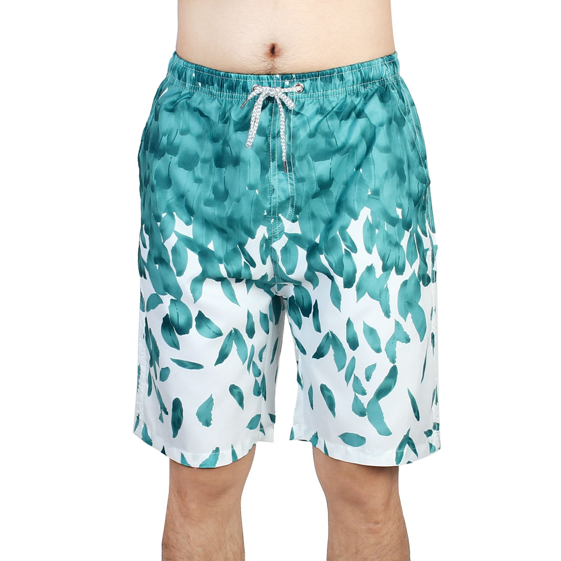 Adult Men Polyester Breathable Half Pants Outdoor Beach Shorts Adjustable Swim Trunks W31