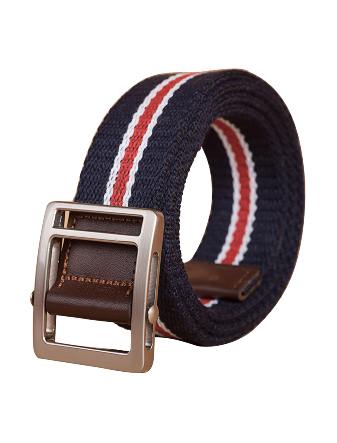 "Unisex Leather Paneled Canvas Striped Slide Buckle Belt Width 1 5/8"" Navy Blue"