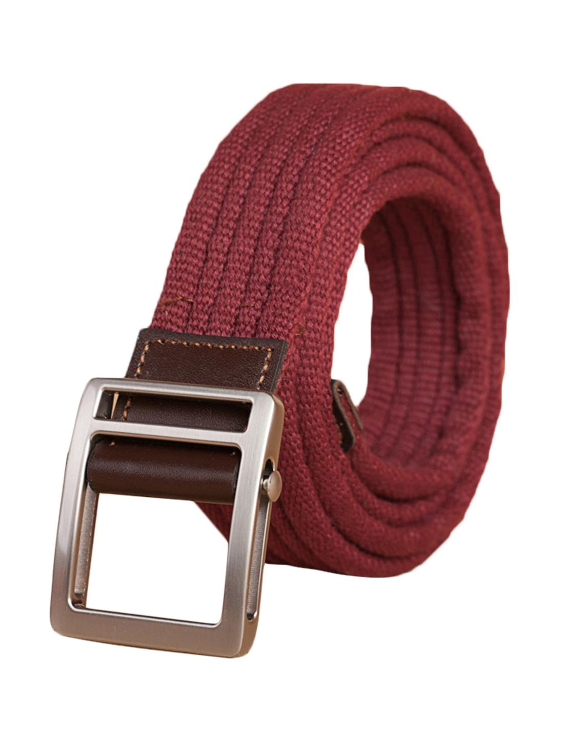 "Unisex Leather Paneled Canvas Slide Buckle Belt Width 1 5/8"" Burgundy"