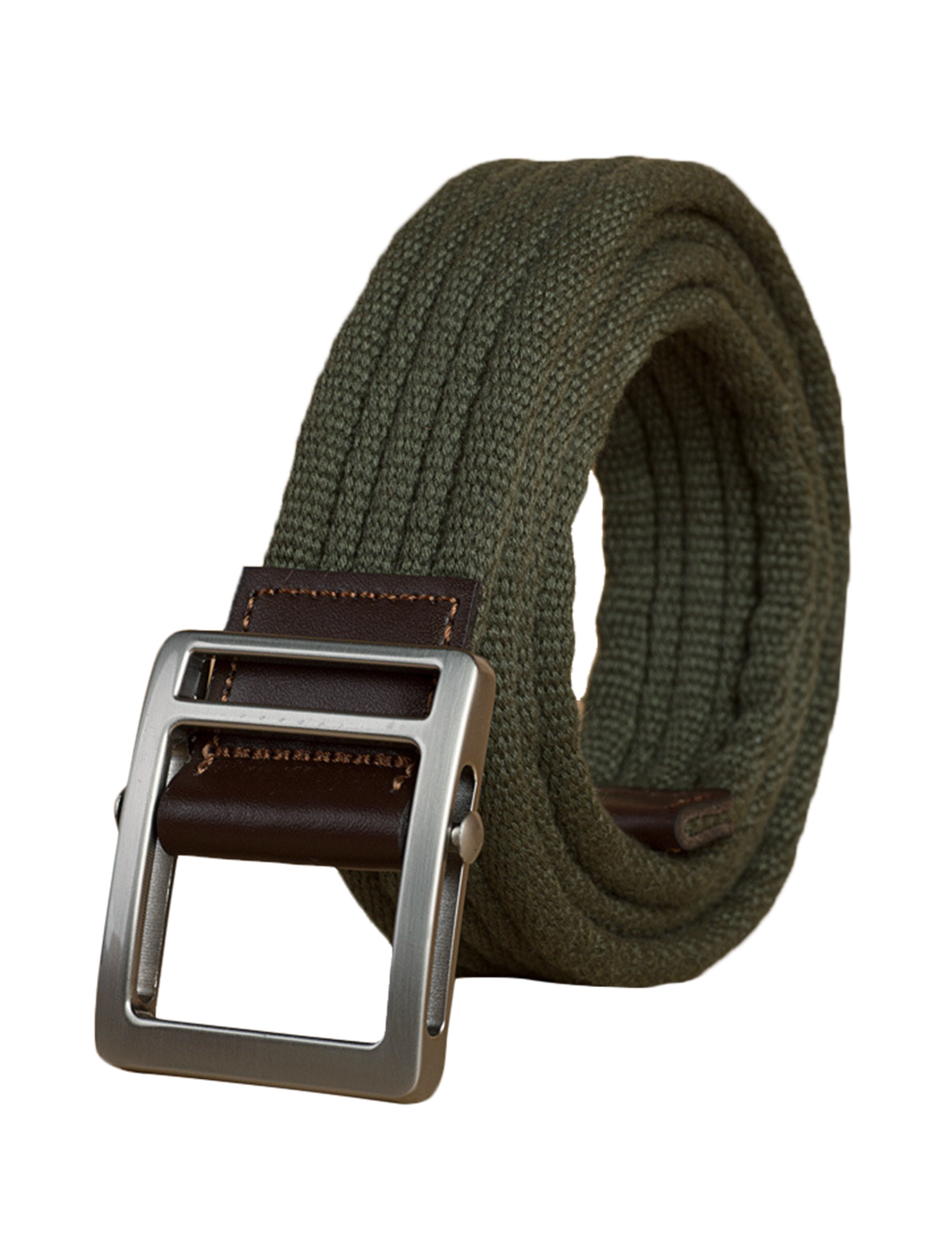 "Unisex Leather Paneled Canvas Slide Buckle Belt Width 1 5/8"" Army Green"