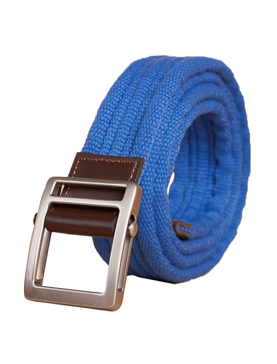 "Unisex Leather Paneled Canvas Slide Buckle Belt Width 1 5/8"" Royal"