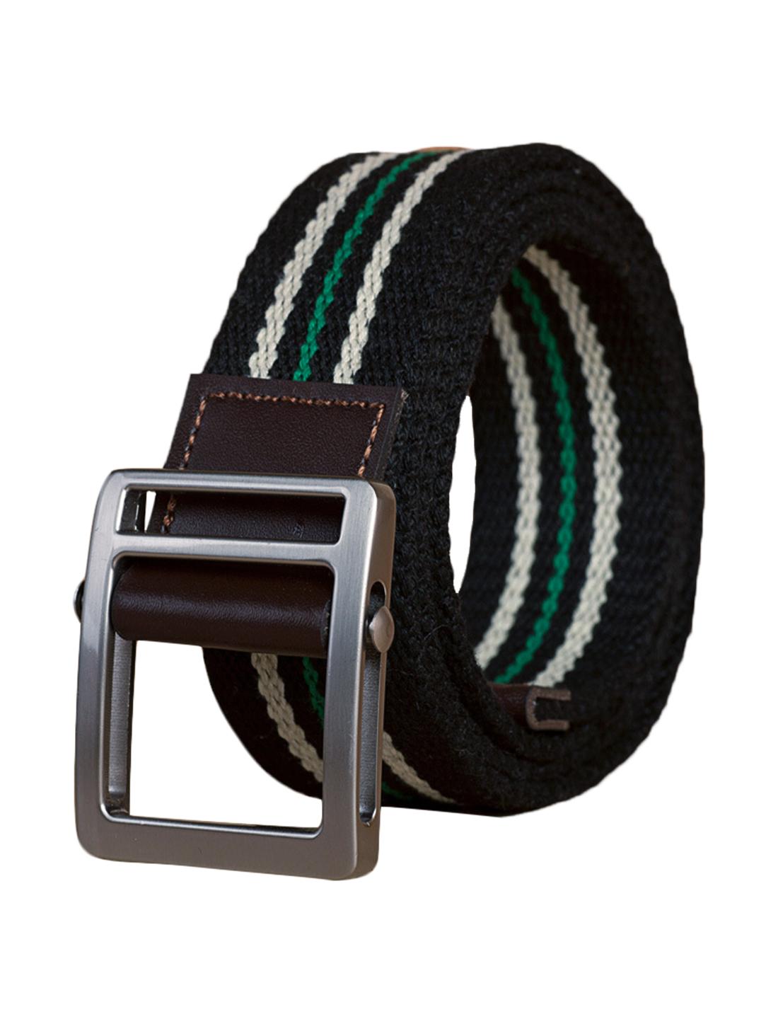 "Unisex Leather Paneled Striped Slide-buckle Belt Width 1 5/8"" Black"