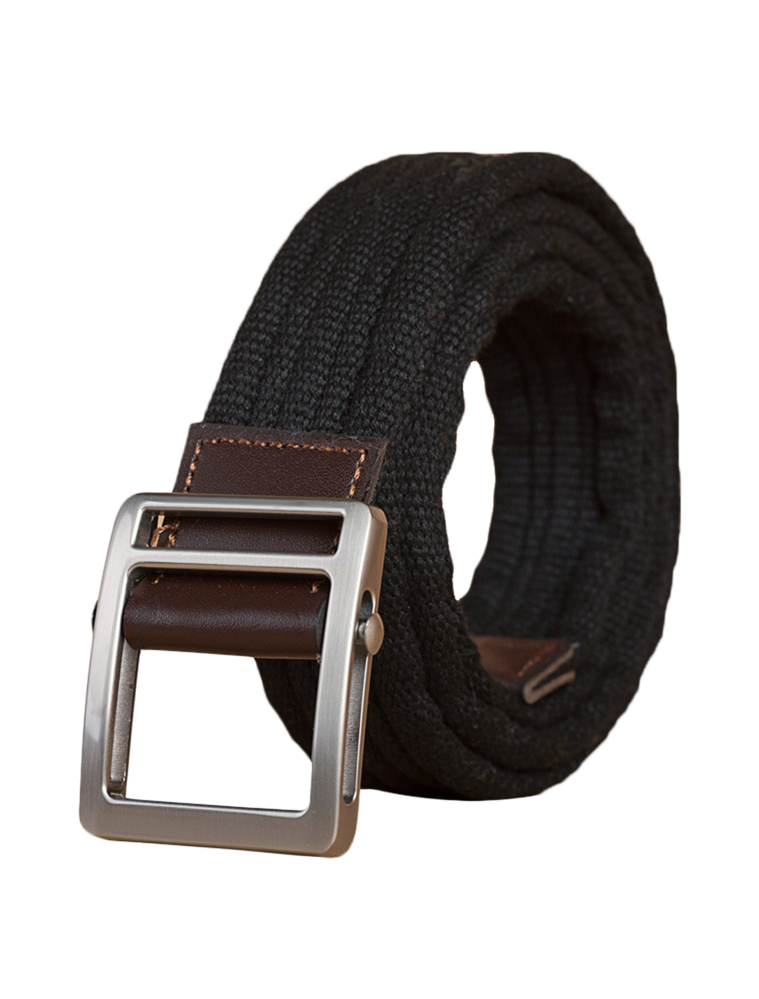 "Unisex Skinny Canvas Slide Buckle Belt Width 1 5/8"" Black"