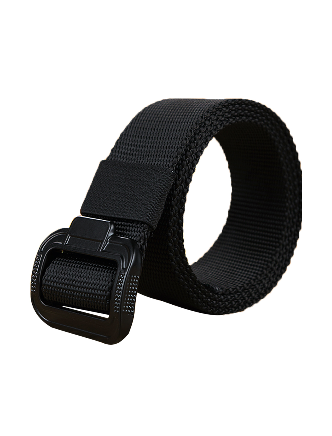 "Men Military Style Canvas Outdoor No Hole Slide Buckle Belt 1 5/8"" Black"