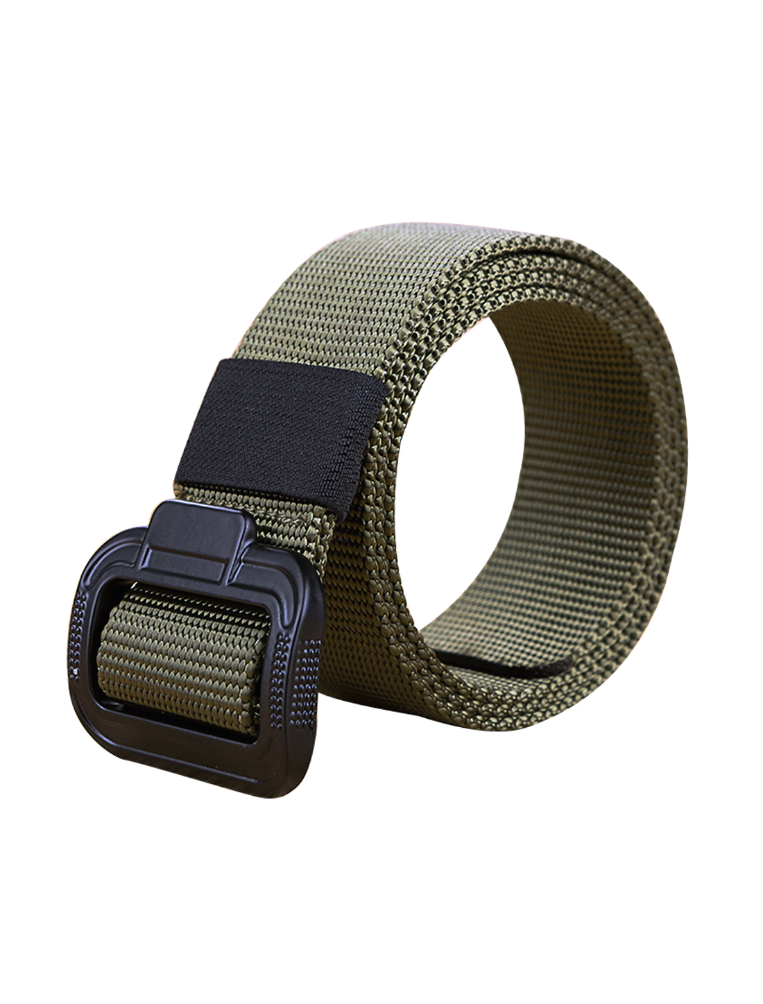 "Men Military Style Canvas Outdoor No Hole Slide Buckle Belt 1 5/8"" Army Green"