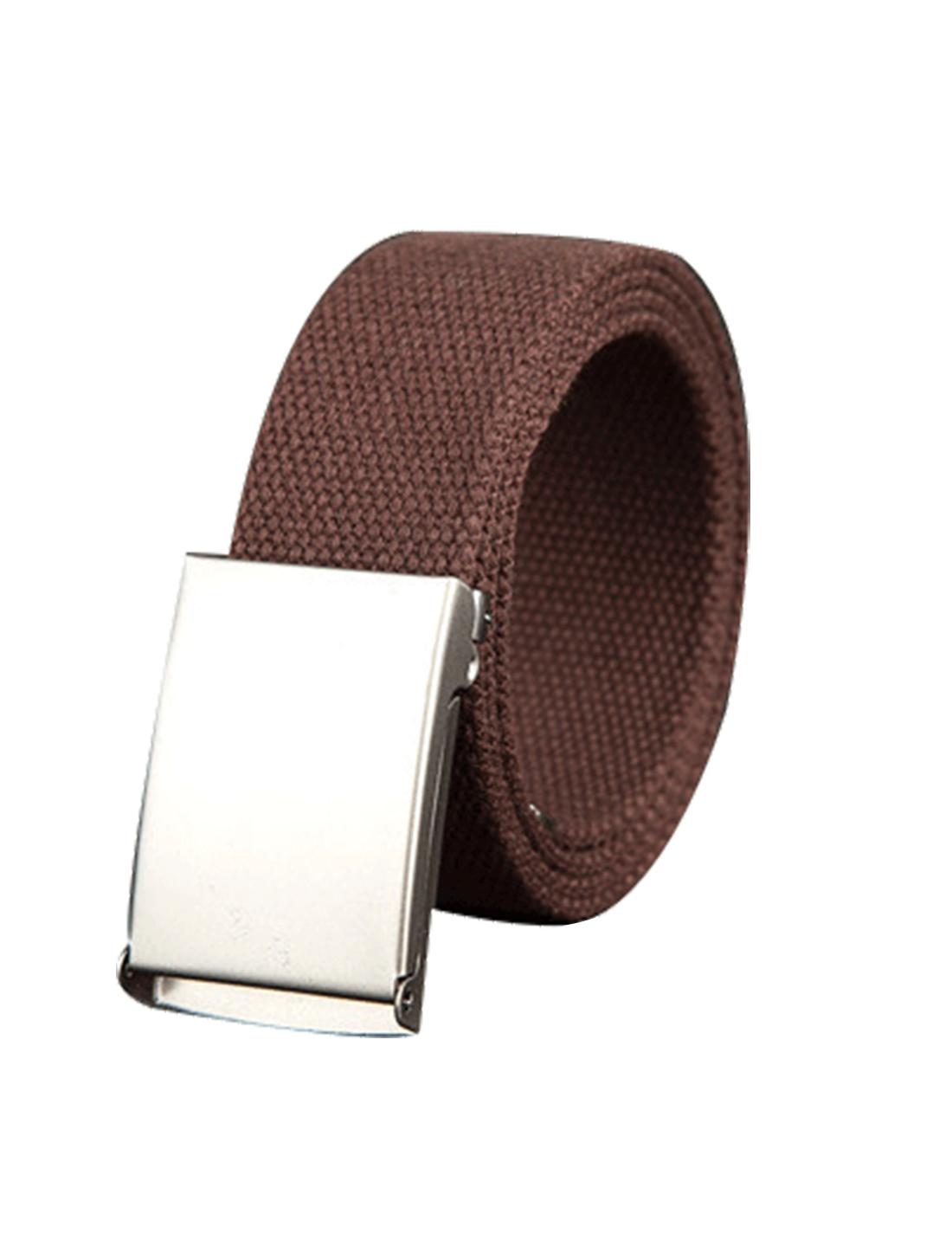 "Unisex Canvas No Hole Slide Metal Buckle Waist Belt Width 1 1/2"" Coffee"